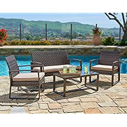 Suncrown Outdoor Furniture Wicker Conversation Set with Glass Top Table (4-Piece Set) All-Weather | Thick, Durable Cushions with Washable Covers | Porch, Backyard, Pool or Garden