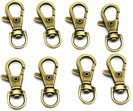 ALL in ONE 50pcs Antique Bronze Swivel Lobster Claw Clasps Snap Hook with D Ring for DIY Craft Jewelry Findings