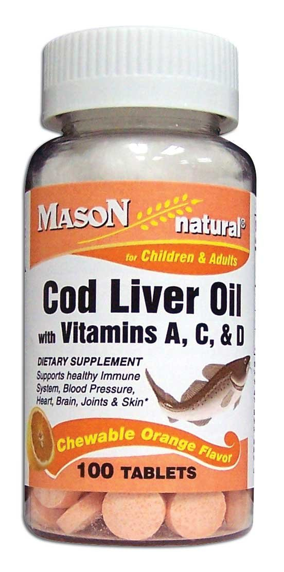 Mason Natural, Cod Liver Oil With Vitamin A C & D, Orange Flavor Chewable Tablets, 100-Count Bottles (Pack of 4), Dietary Supplement Supports Healthy Heart, Brain, Blood Pressure and Immune System by Mason Vitamins