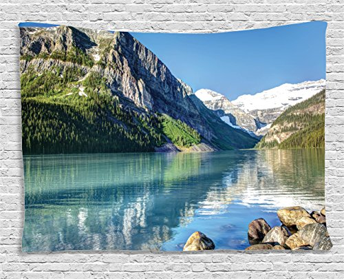 (Ambesonne Lake House Decor Collection, Lake Louise in Banff National Park, Canada Lakeside Rocks Clear Water Scenic Picture, Bedroom Living Room Dorm Wall Hanging Tapestry, 80 X 60 Inches, Green)