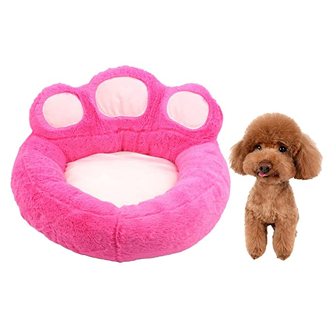 Amazon.com : Urijk Dog Paw Shape Round Sherpa Bed - Deep Dish Cuddler with Removable Washable Cover and Waterproof Bottom - Comfortable Round Pet Bed ...
