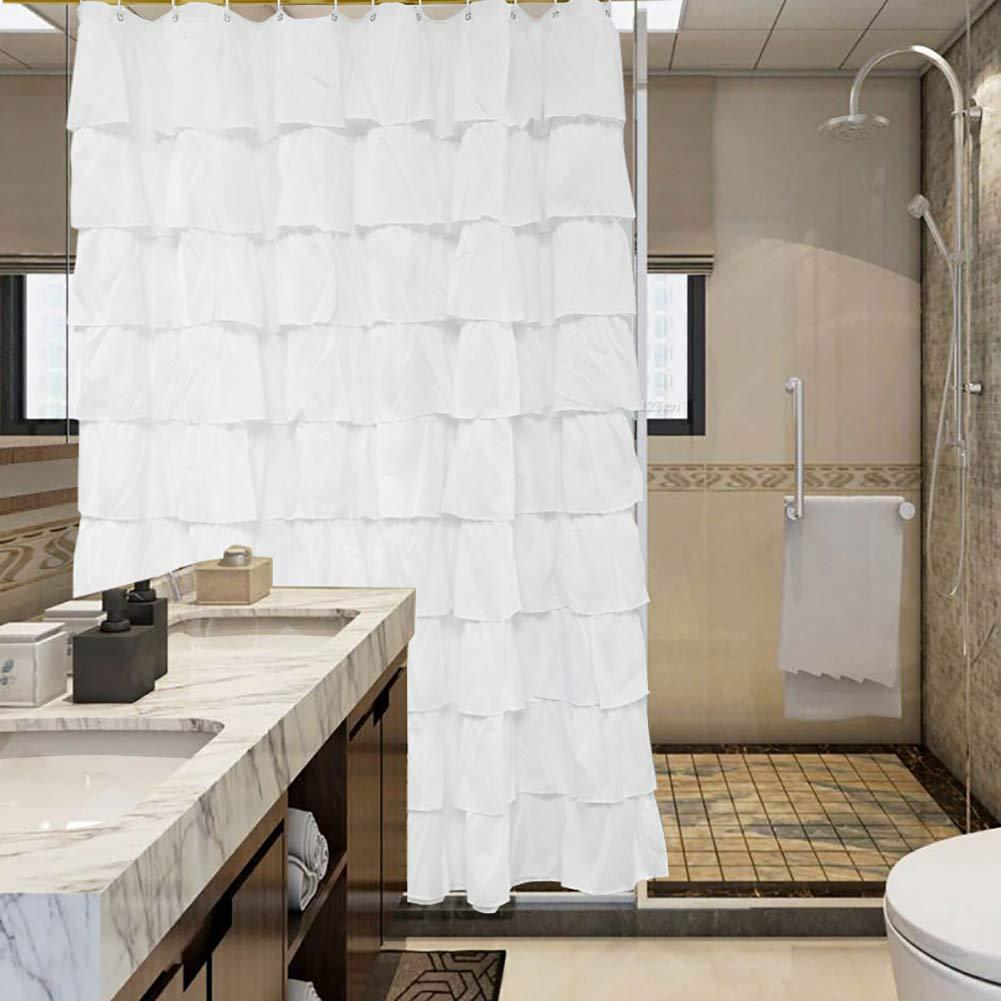 Shyneer Blanc Rideau de Douche avec 12 Crochets 180 cm*180 cm pour dé coration de Salle de Bain
