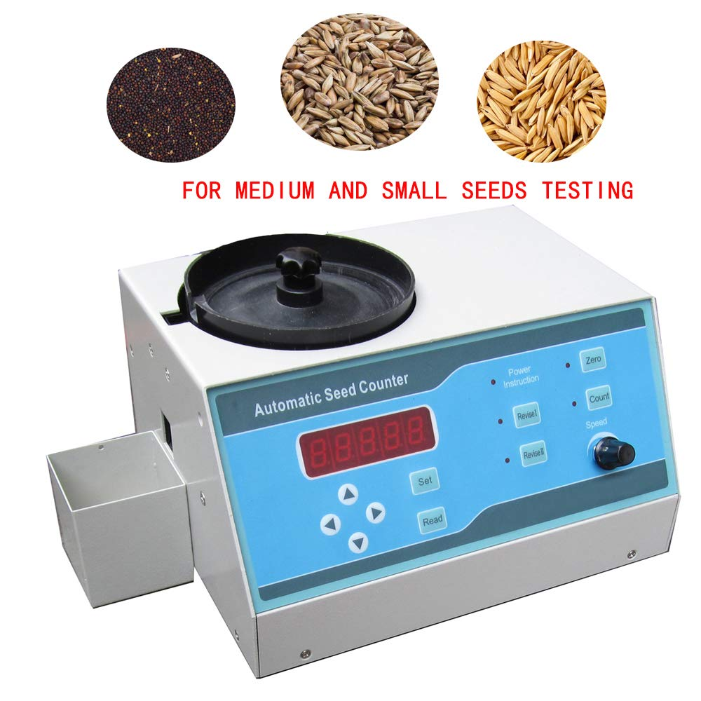 VTSYIQI Automatic Seeds Counter Machine Automatic Counting Instrument Sly-A with Adjustable Speed for Small and Medium Seeds Such as Rice Wheat Rape Vegetables Flowers Tobacco Small Grains LEDDisplay