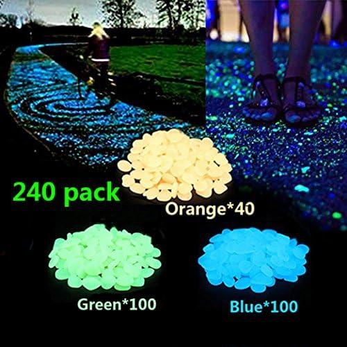 Kesouli - piedras artificiales brillantes decorativas para jardín (40 color naranja, 100 azules, 100 verdes): Amazon.es: Jardín