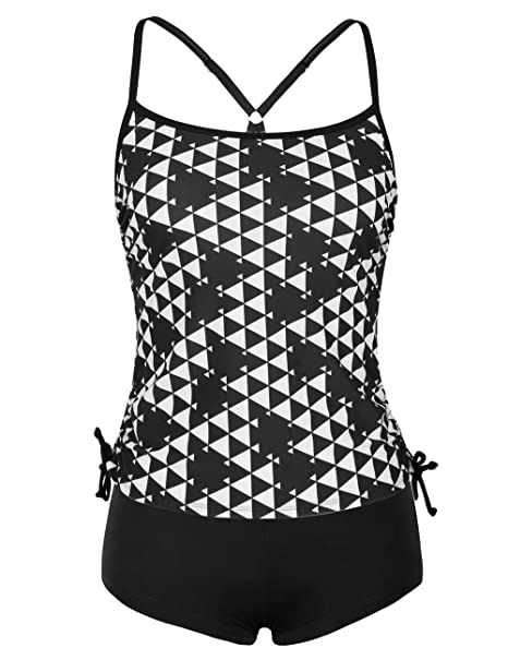 e170e45d61e76 ninovino Women s Two Piec Bathing Suits Geo Printed Racerback Tankini Sets  with Boyshort Black-XS