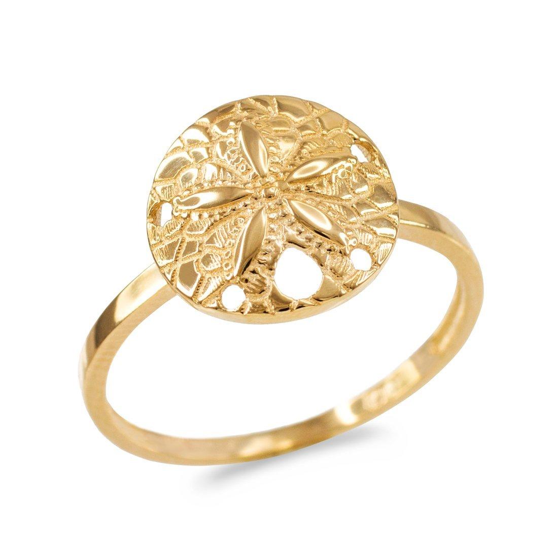 Dainty 10k Yellow Gold Sand Dollar Ladies Ring (Size 9)