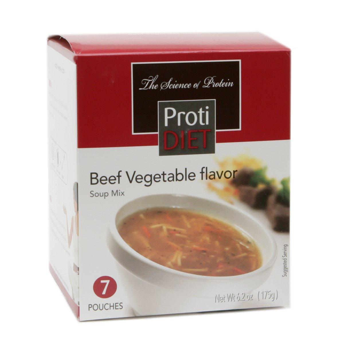 Protidiet Beef Vegetable Flavor Protein Soup Mix (7 - 6.2 oz Pouches)