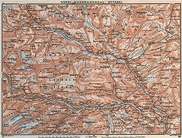 Amazoncom NORTH GUDBRANDSDAL OTTADAL Nordl Dombas Dovrefjell - Norway map amazon