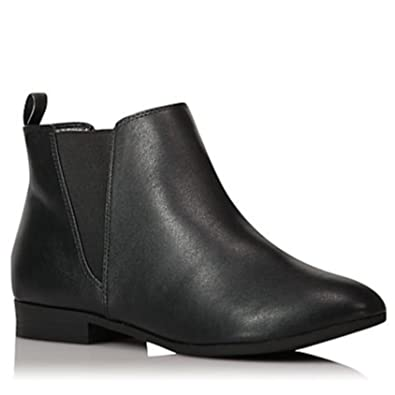 Womens Ladies Faux Leather Suede Chelsea Ankle Boots Black Brown with Pull  on Elasticated Tab Low