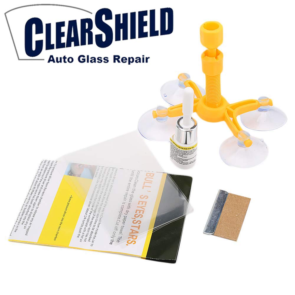 Windshield Repair Kit by Clearshield - DIY Auto Glass Rock Chip Repair Kit for Star Horseshoe Bull's Eye Chips or Cracks - No Need to Replace the Whole Windshield - with Instructions (3 Pack) by Clearshield (Image #3)