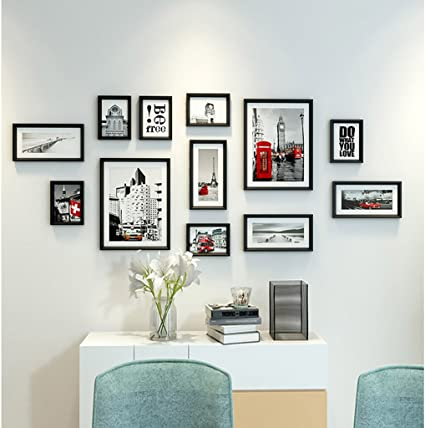Amazon Com Photo Wall Living Room Wall Accessories Painted Simple Wood Combination Photo Frame Home Color White Home Kitchen
