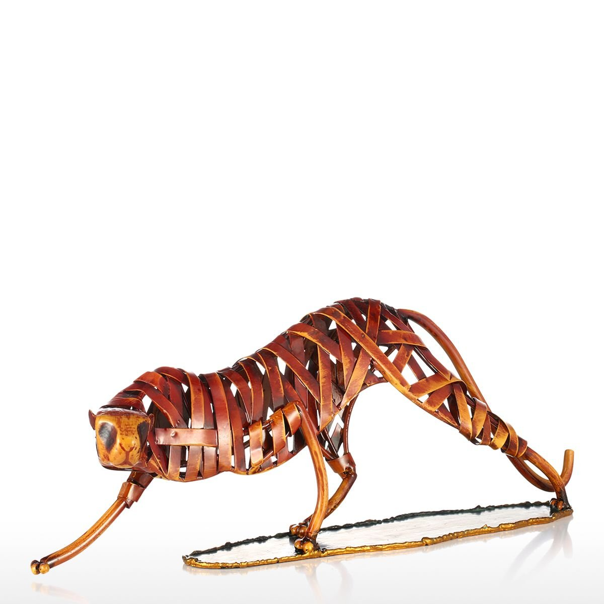 Tooarts Metal Weaving Leopard Modern Decorative Sculpture for Interior Decoration