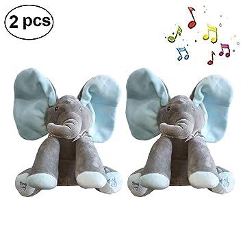 Dreamsdox Peek A Boo Teddy Bear Mu/ñeco de Peluche Toy Plush Toy Doll Bear con funci/ón de m/úsica Regalo Ideal para ni/ños