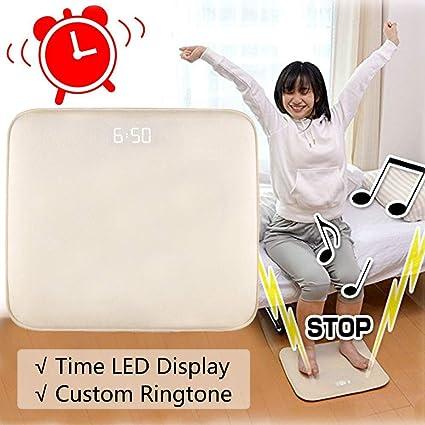 Despertador Alfombra Inteligente Despertador Digital Terciopelo Suave con Fecha Pantalla de LED Música de Alarma Personalizada para Durmientes Pesados ...