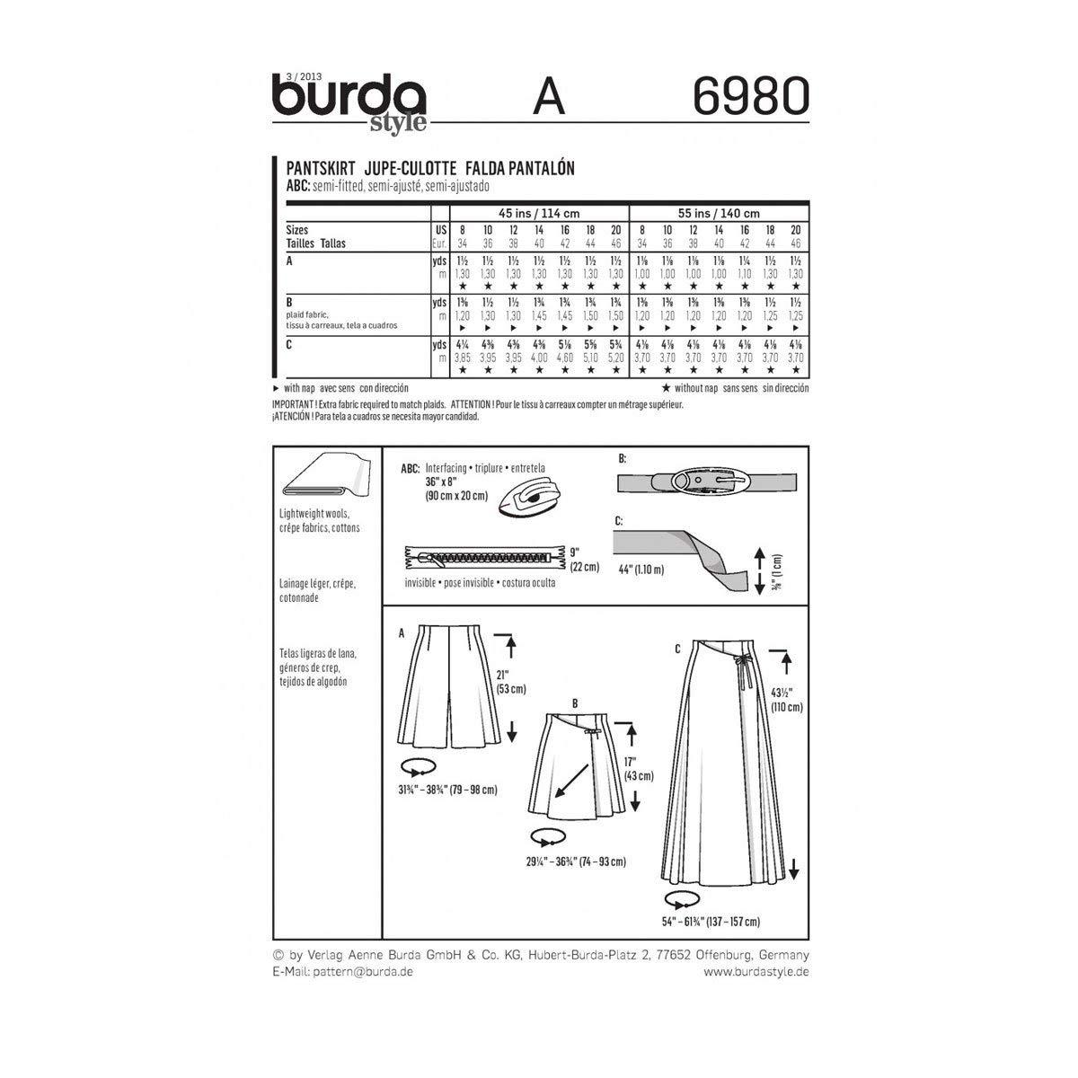 Burda B6980 Patron de Couture Jupe-Culotte 19 x 13 cm