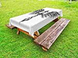 Lunarable Gothic Outdoor Tablecloth, Heraldic Wing and Cross Fable Feathers Faith King Heraldic Theme Artwork Print, Decorative Washable Picnic Table Cloth, 58 X 104 Inches, Black Cream