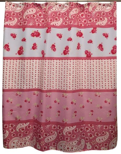 Shabby Chic Rose Fabric Shower Curtain Patchwork Paisley Printed Floral French Country Pink - Patchwork Curtains Shabby