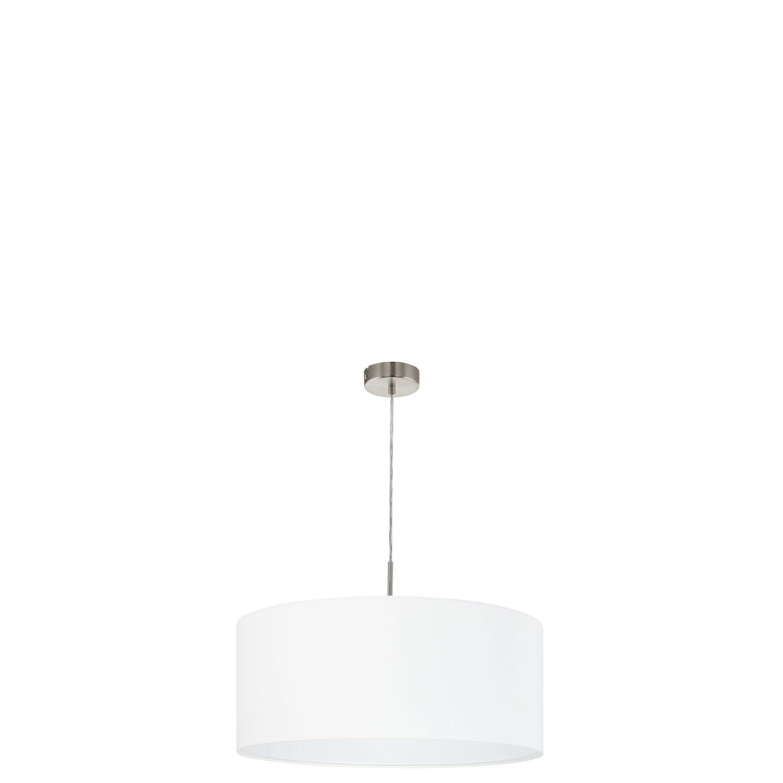 EGLO 31575 A++ to E, Hängeleuchte, Stahl, E27, Nickel-matt Weiß, 53 x 53 x 110 cm