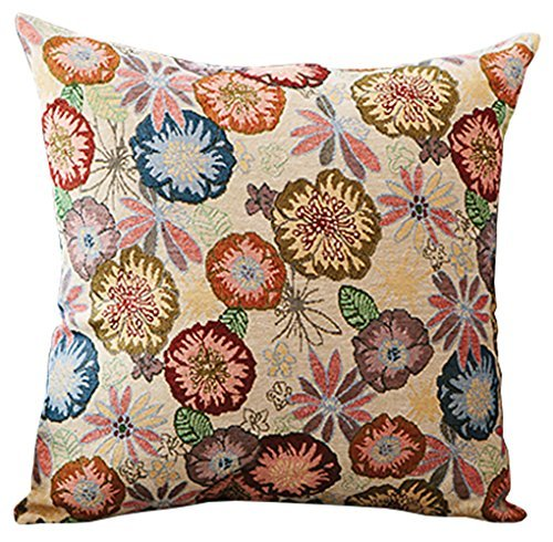 Style Retro Decorative Cotton/Linen Blend Floral Square Euro Throw Pillow Cover Case Pillowcase Cushion Sham - 24
