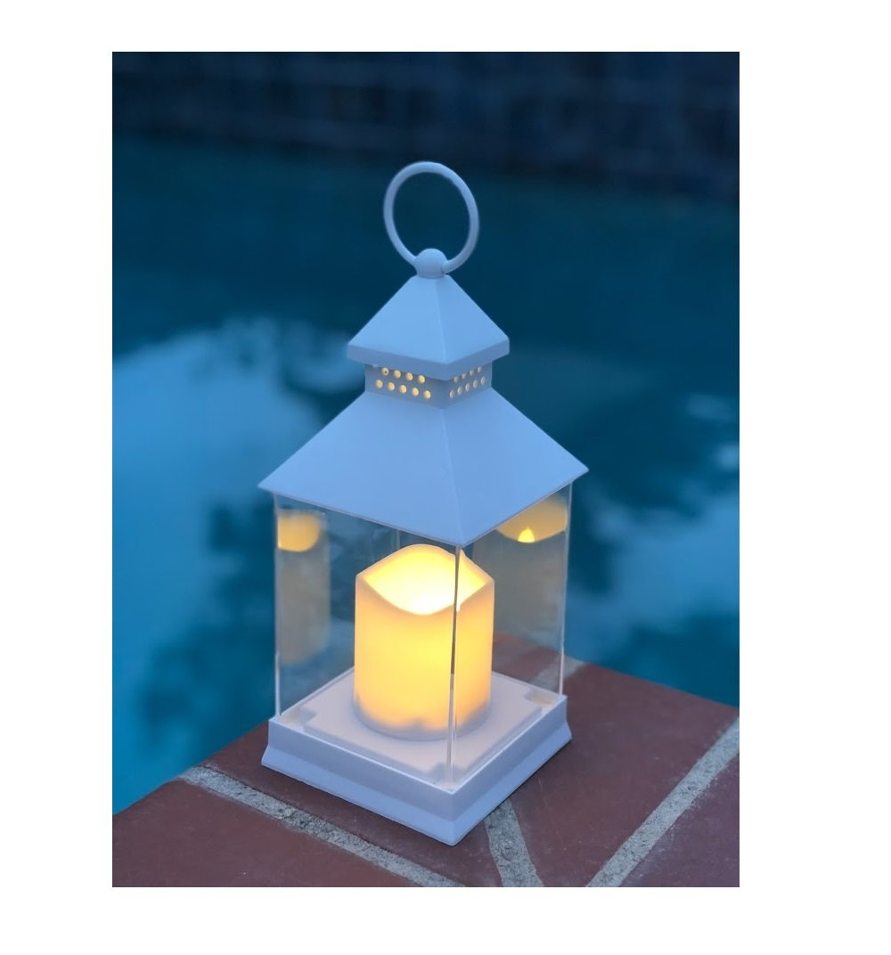 Just In Time for Spring {12 Pc SET} - 10'' Decorative Lanterns With Flameless LED Lighted Candle 5 Hr Timer Modern Look Indoor Outdoor Home, Garden, Weddings - Includes Bonus String Lights! White. by The Nifty Nook (Image #2)