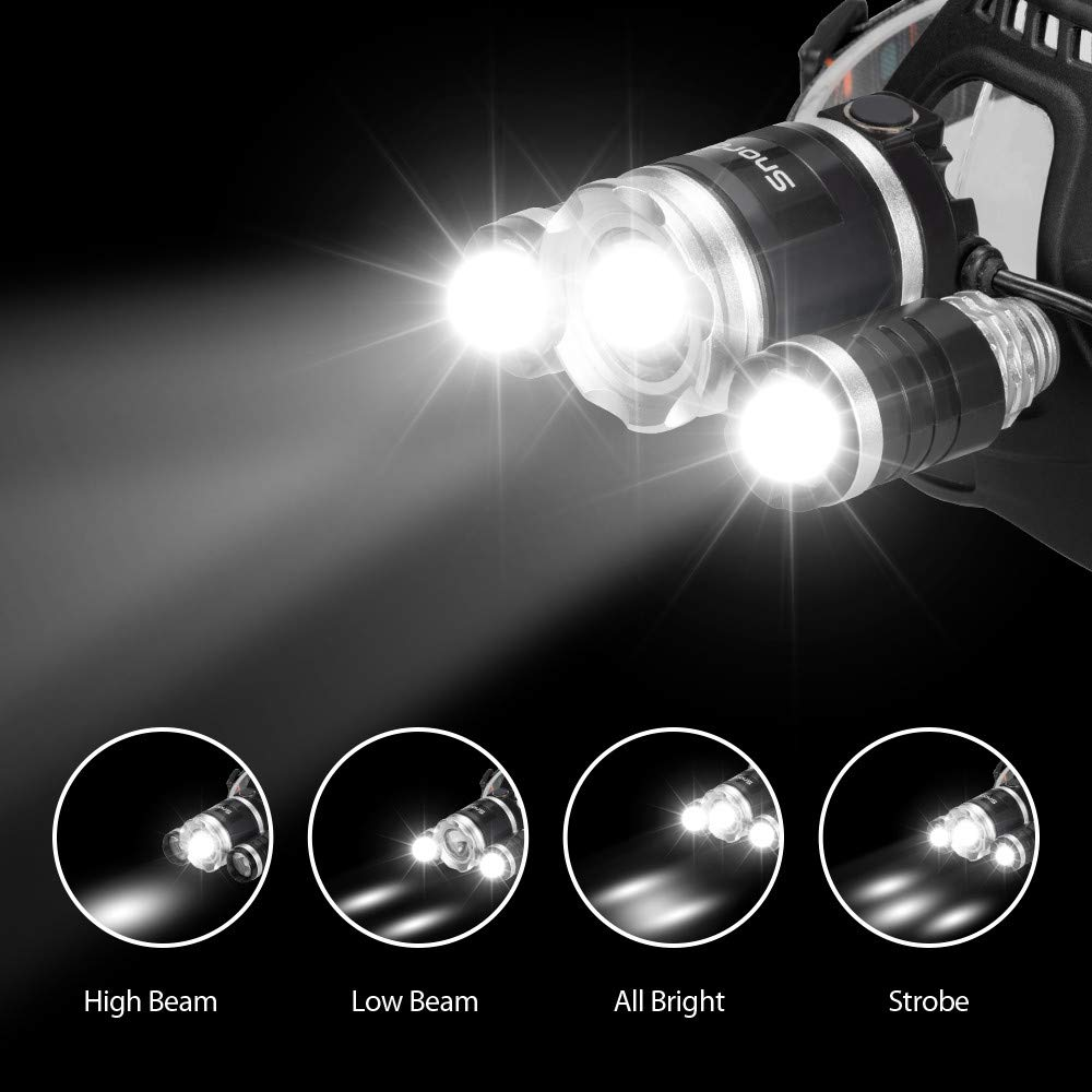 Brightest LED Headlamp, Snorda Zoomable Head Light with 6000 Lumen CREE LED, 4 Modes for Camping Fishing with 18650 Rechargeable Batteries by Snorda (Image #6)