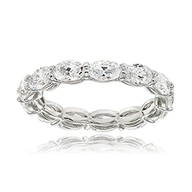 f30e8b395ecdf8 Amazon.com: Hoops & Loops Sterling Silver Cubic Zirconia 5x3mm Oval-cut  Eternity Band Ring: Jewelry