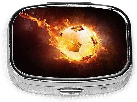 Bola de fuego Fútbol Diseño personalizado Cuadrado Caja de pastillas de plata Medicina decorativa Vitamina Organizador Regalo: Amazon.es: Salud y cuidado personal