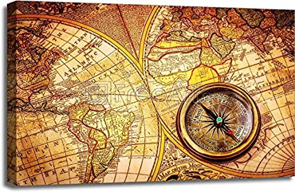 Amazon vintage compass lies on an ancient world map paper vintage compass lies on an ancient world map paper print wall art gallery wrapped canvas gumiabroncs Gallery