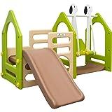 LittleTom Portique pour Petits Enfants 1-6 ans | Balançoire + Toboggan + Parois D'Escalade | Maison de Jeu avec 3 agrès | pour l'intérieur et l'extérieur de la maison | multicolor Beige Vert Marron