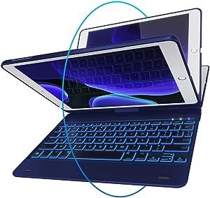 iPad Keyboard Case for iPad 2018 (6th Gen) - iPad 2017 (5th Gen) - iPad Pro 9.7 - iPad Air 2 & 1 - Thin & Light - 360 Rotatable - Wireless/BT - Backlit 10 Color - iPad Case with Keyboard (Blue)