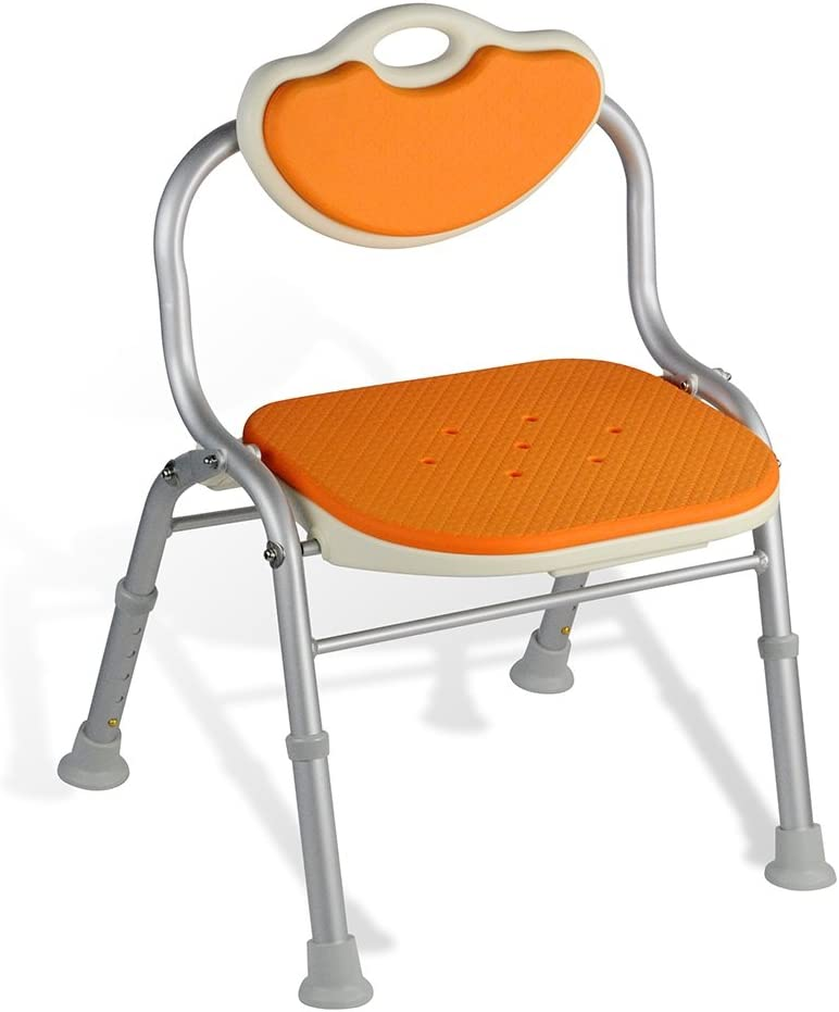 Healthcare Shower Stool Foldable Shower Chair Elderly Safety Non-Slip Shower Seats Stool Aluminum Alloy Safe and Comfortable Handicap Accessible Bath Stool Bathing Benches (Color : Orange) 61JiqlMO8LL