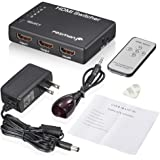Fosmon HD1832 Intelligent 5-Port HDMI Switch with IR Remote and AC Adapter Supports 3D, Black