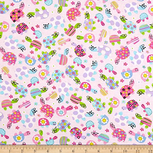 Santee Print Works Child's Play Turtles Pink Fabric by The Yard,
