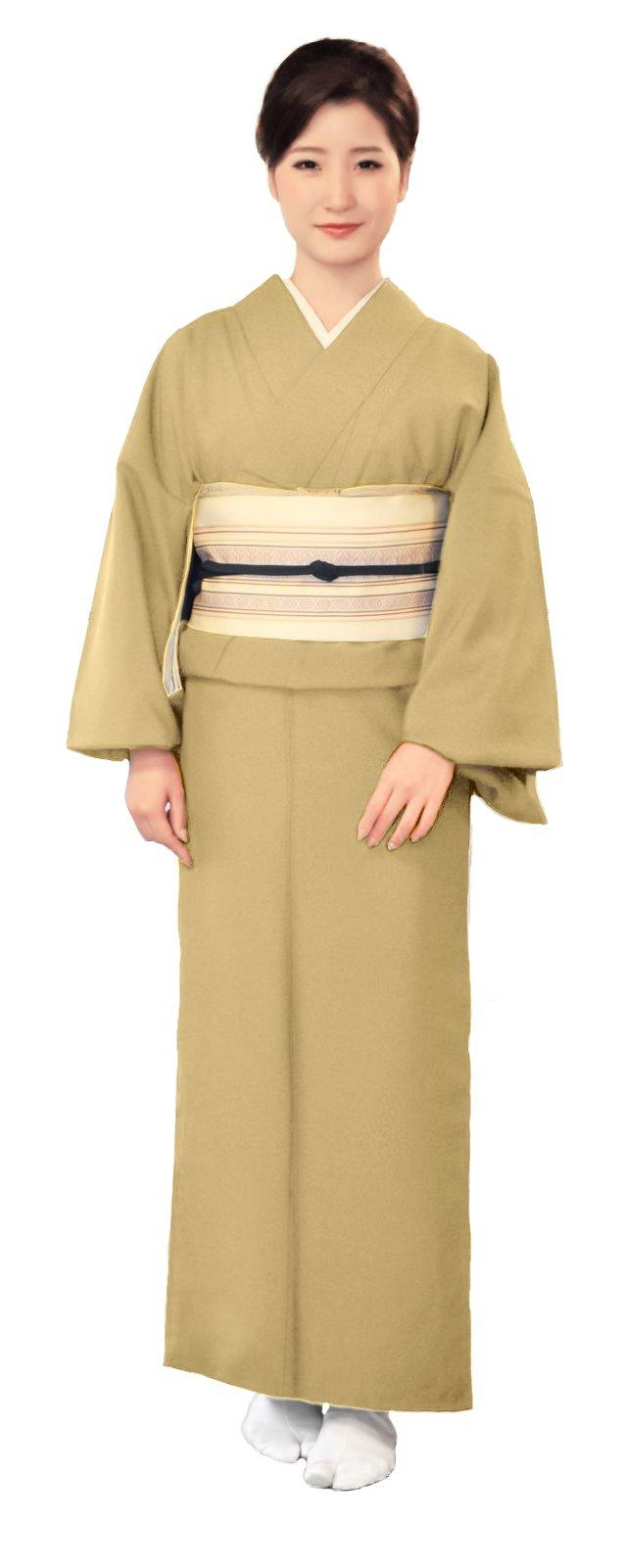 KYOETSU Women's Washable Unlined Kimono Hitoe (Medium(Japan size LL), Yellow)