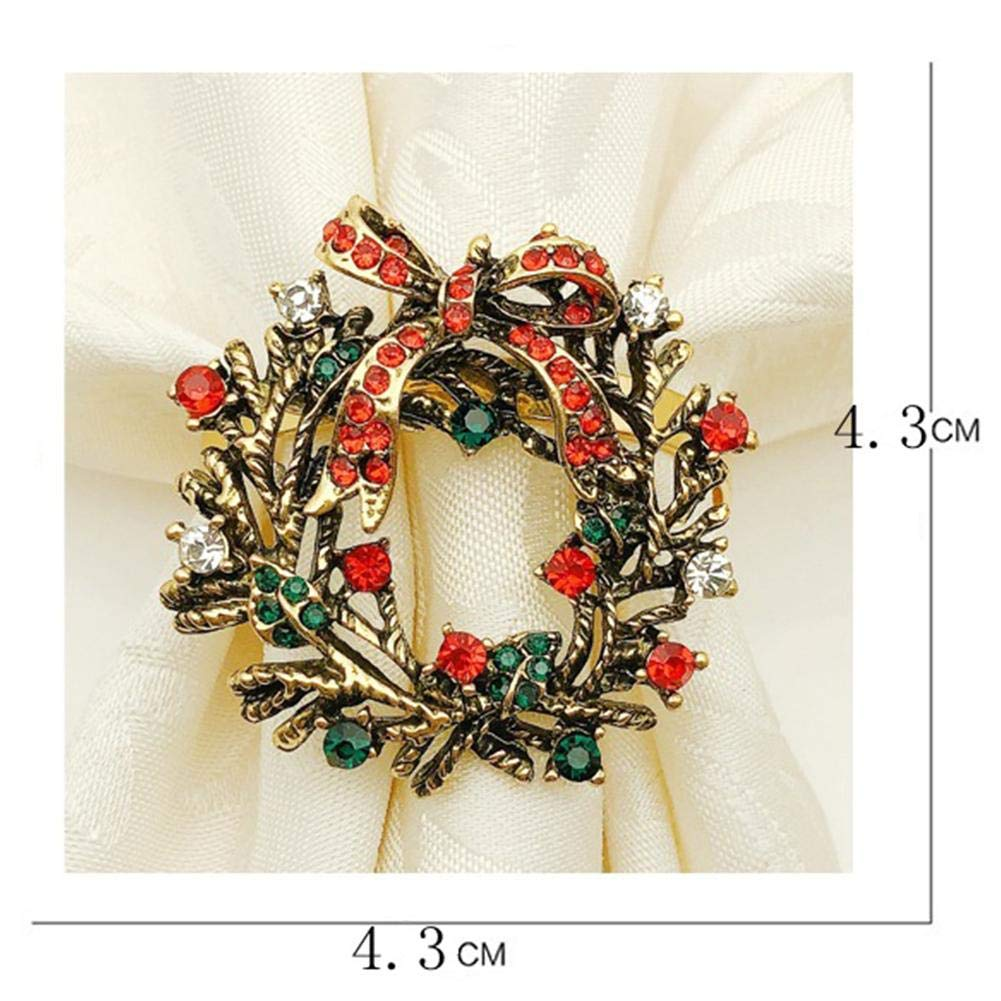 chivalrylist Anillos de servilleta de Navidad Juego de 12 Decoraci/ón de Mesa de Vacaciones Anillos de servilleta de Diamantes de imitaci/ón de Oro de Corona de Navidad