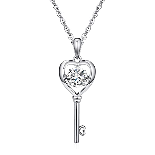 e86d06673 Heart Key Pendant Necklace Dancing Diamond Cubic Zirconia 925 Sterling  Silver Inlaid Charm Infinity for women Vintage Key to Heart Gift:  Amazon.ca: Jewelry
