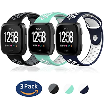 Sport Two-Tone Silicone Replacement Breathable Strap Bands for Fitbit Versa