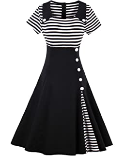 31219edd43 ZAFUL Women Vintage Dress 1950s Nautical Style Summer Sailor Collar  Sleeveless Cute Cocktail Party Swing Dresses