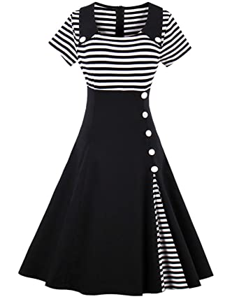 1b3b47642af ZAFUL Women Vintage Dress 1950s Nautical Style Summer Sailor Collar  Sleeveless Cute Cocktail Party Swing Dresses