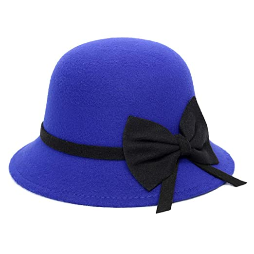 91314b24609 Crushable Wool Felt Outback Hat Women Panama Hat Wide Brim with Bow Cap Blue