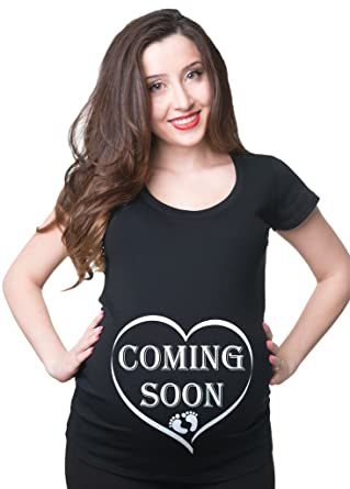 fc46076a1dbea Coming Soon Maternity Pregnancy Shirt at Amazon Women's Clothing store: