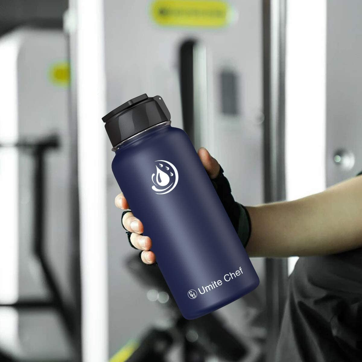 Vacuum Insulated Wide Mouth Stainless-Steel Sports Water Bottle with New Wide Handle Straw Lid,Hot Cold Umite Chef Water Bottle Double Walled Thermo Mug
