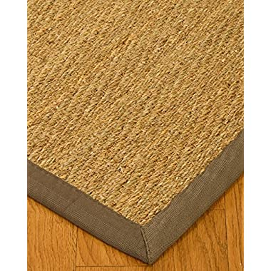 NaturalAreaRugs Natural Fiber Four Seasons Seagrass Rug with 2  Wide Border, 6' by 9', Gray
