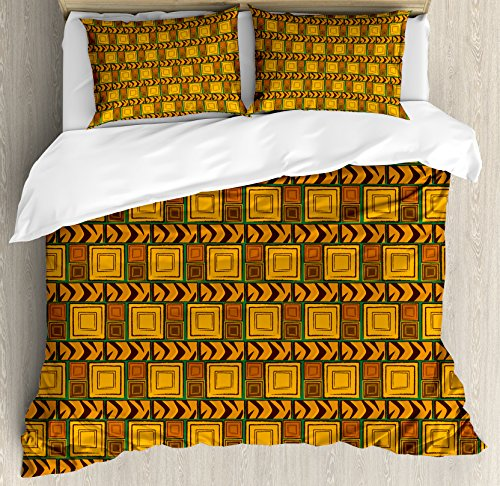 Ambesonne Zambia Duvet Cover Set King Size, Kenya Ethnic Motif with Geometrical Aztec Native American Effects Print, Decorative 3 Piece Bedding Set with 2 Pillow Shams, Yellow Brown Green