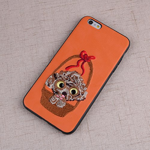PU Leather Phone Case PC Hard Back Cover Shell Teddy Dog 3D Embroidery Design Fashion Embroidered Cell Phone Case Full Protection Cover for Apple iPhone 6 Plus/ 6S Plus (Orange) (Embroidery Teddy Design)