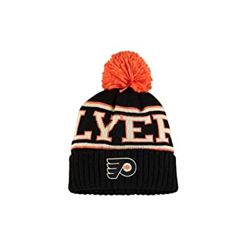 d18db9c4fc2 Philadelphia Flyers Reebok Black Team Cuffed Knit Hat with Pom ...