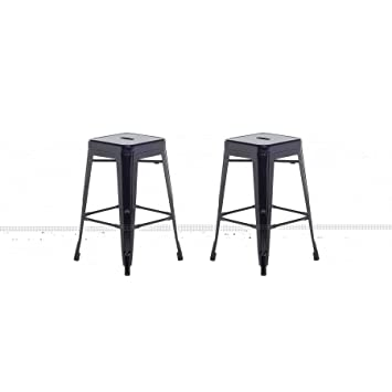 Tabouret De Bar 60 Cm.2 Tabourets De Bar Noir De 60 Cm Cabrillo Amazon Fr