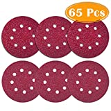 Paxcoo 65 Pcs Sanding Discs 5 Inch Sander Pads 60 80 120 180 240 320 Grit for Random Orbit Sander Bosch Orbital Palm Power