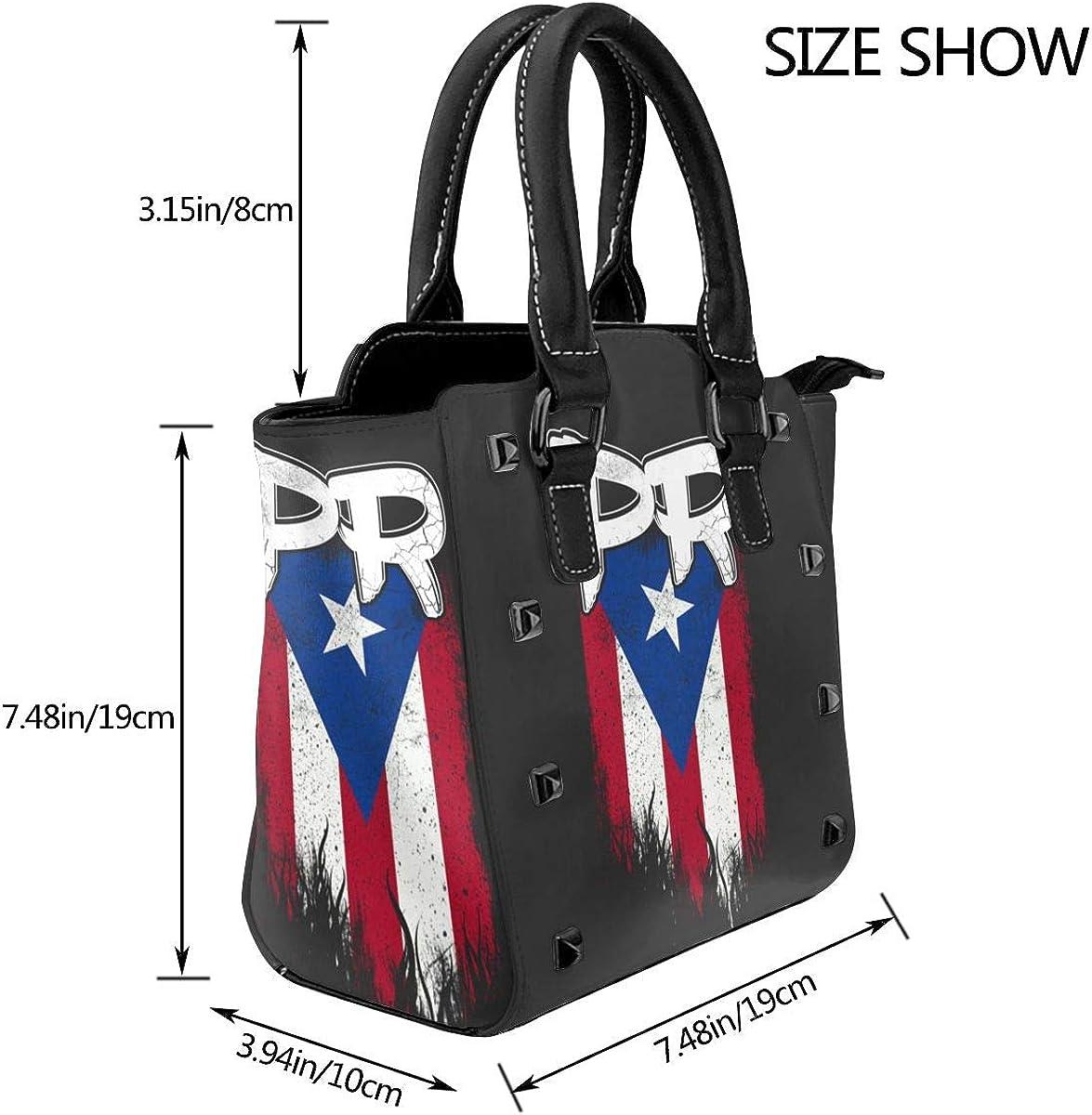 Rainbow Pitbull - Borsa a tracolla da donna, in vera pelle, con rivetto Bandiera Di Puerto Rico Pr