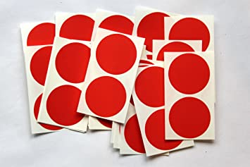 50 Red Round Stickers - Sticky Coloured Self Adhesive Labels for Colour  Coding